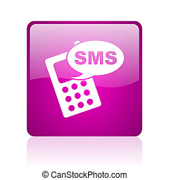 sms violet square web glossy icon