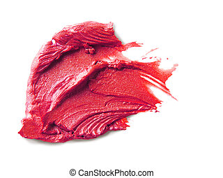 Smudged lipstick on white background - close up of a smudged...