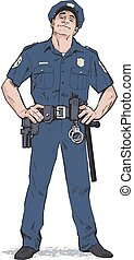 Content policeman in uniform. Blue form. Confident cop. Self-confident man in a blue uniform. The guy in the cap. Happy policeman. Strong character. Catch the criminals. Vector illustration.
