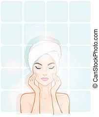 smuk kvinde, badeværelse, kurbad