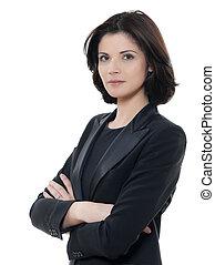 smuk kvinde, firma, isoleret, arme, graverende, studio, baggrund, portræt, kryds, hvid, æn, kaukasisk
