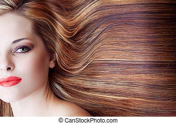 smuk kvinde, hos, langt hår