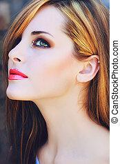 smuk kvinde, hos, lyserød læbe