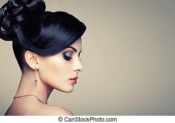 smuk kvinde, jewelry, unge, mode, portræt