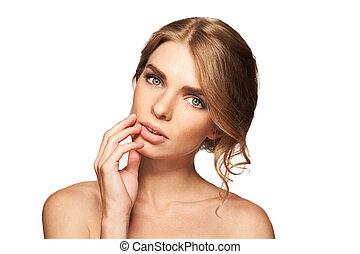 smuk kvinde, kamera., skønhed, isoleret, kigge, girl., baggrund, portræt, hvid