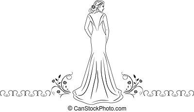 smuk kvinde, klæde, længe