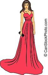 smuk kvinde, klæde, rød, længe