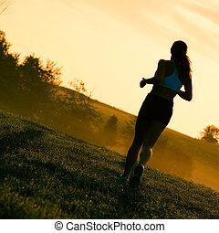 smuk kvinde, løber