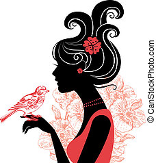 smuk kvinde, silhuet, fugl