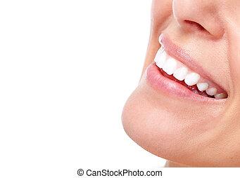 smuk kvinde, smile, og, teeth.