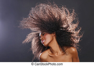 smuk kvinde, stor, stunning, hår, amerikaner, sort, ...