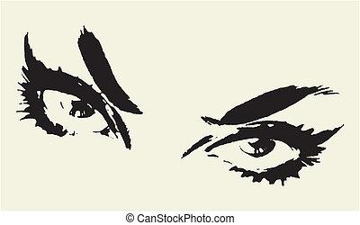smukke øjne, kvinde