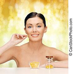 smukke, 3, kvinde, omega, vitaminer