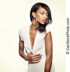 smukke, amerikaner, model, afrikansk