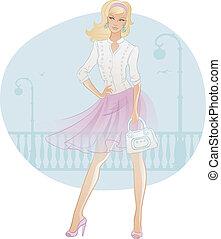 smukke, bag, kvinde, mode