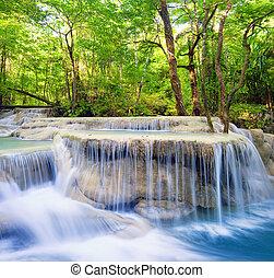 smukke, baggrund., vandfald, landskab, natur
