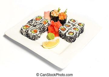smukke, beklæde, sushi