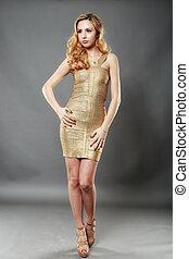 smukke, billede, kvinde, guld, slide, unge, poser, klæde, glade