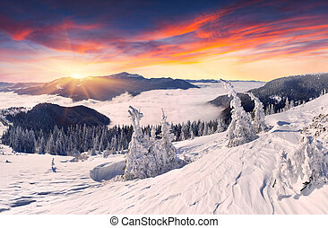 smukke, bjerge, solnedgang, vinter