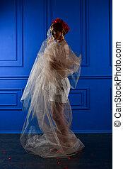smukke, blå, anføreren, mode, hende, fotografi, baggrund, under, pige, blomster, slør, hvid rød