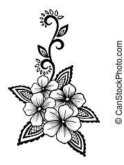 smukke, black-and-white, konstruktion, blomstrede, blomster, blade, element.