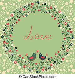 smukke, blomster, hilsen card, fugle