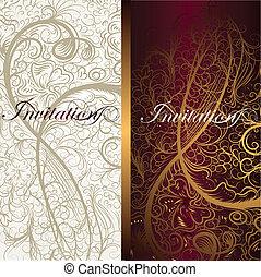 smukke, blomstrede, cards, invitation