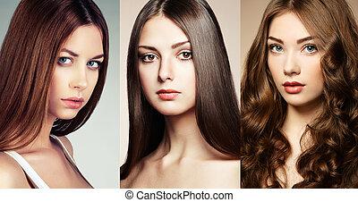 smukke, collage, kvinder, ansigter