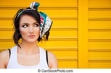 smukke, colourful, kvindelig, war paint
