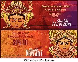 smukke, durga, gudinde, dussehra, reklame., festival, eller, omsætning, zeseed, baggrund, avancementen, navratri, shubh, glade