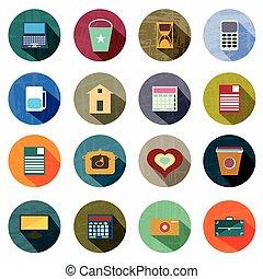smukke, firmanavnet, farvet, iconerne, samling, retro, skygge
