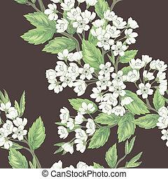 smukke, forår, seamless, mønster