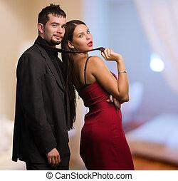 smukke, forretningsmand, holde kvinde, slips