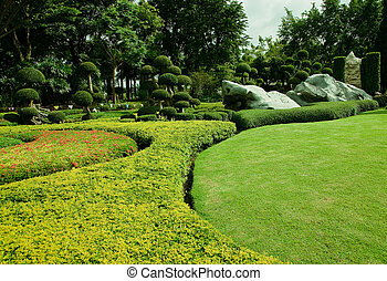 smukke, garden., plæne, grønne