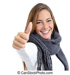 smukke, glad kvinde, vinter, isoleret