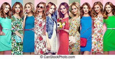 smukke, gruppe, unge kvinder