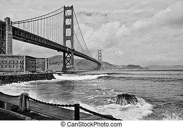 smukke, gylden låge bro, ind, san, francsico