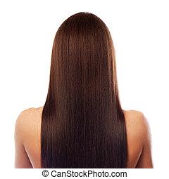 smukke, hår, længe