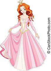 smukke, haired, prinsesse, rød