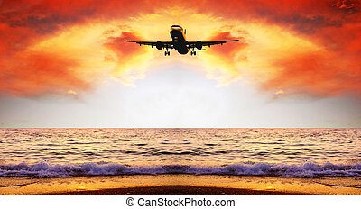 smukke, hav, natur landskab, på, den, solopgang, himmel, hos, flyvemaskine