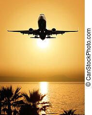 smukke, hav udsigt, og, flyvemaskine
