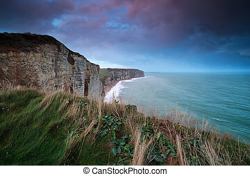 smukke, hen, havet, atlantisk, violet, solopgang