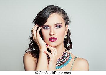 smukke, herskabelig, kvinde, mode, portræt