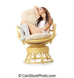 smukke, hvil, kvinde, armchair., unge