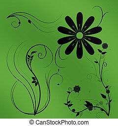 smukke, illustrer, blomst, baggrund, konstruktion, hos, hældning