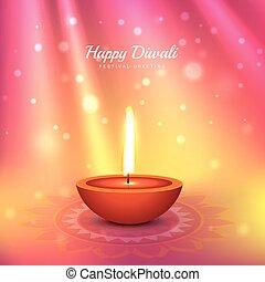 smukke, indisk, festival, diwali, hils, vektor, konstruktion