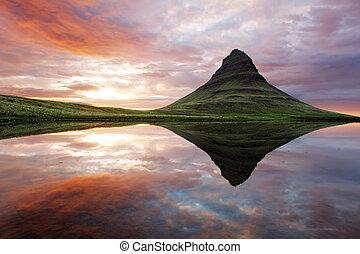 smukke, island, bjerg landskab
