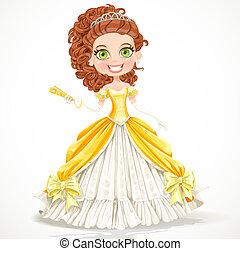 smukke, klæde, prinsesse, gul