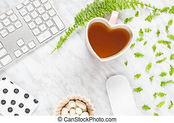 smukke, kontor til hjem, workspace, hos, heart-shaped, tekop