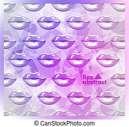 smukke, læber, moderne, baggrund, farverig
